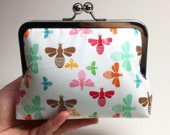 Kisslock Clutch Purse/Makeup bag - Medium - Bees - Laminated cotton