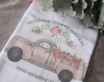 RETRO Country FLOWER Market Shabby Flour Sack Kitchen Towel PINK Spring Blooms