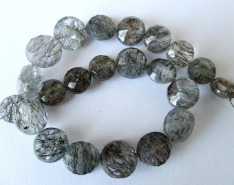 Rutilated, Tourmalinated Quartz faceted coin beads- 8-10mm- 11 beads