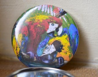 PARROTS Pocket mirror / / animal / / gift / / purse mirror / / little / / round / / layering / / girl gift / / beauty / / birds