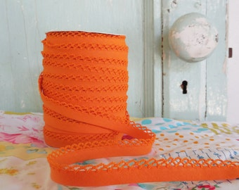Orange Crochet Edge Double Fold Bias Tape (No. 35)