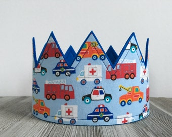 Police Car Crown, Rescue Hero Birthday, Fire Truck party, Policeman Crown, Rescue Vehicles, birthday crown, Rescue hero crown boys party hat