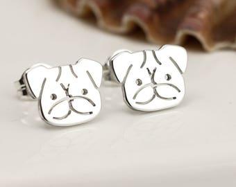 Sterling Silver Pug Earrings - Pug Stud Earrings - Pug Gifts