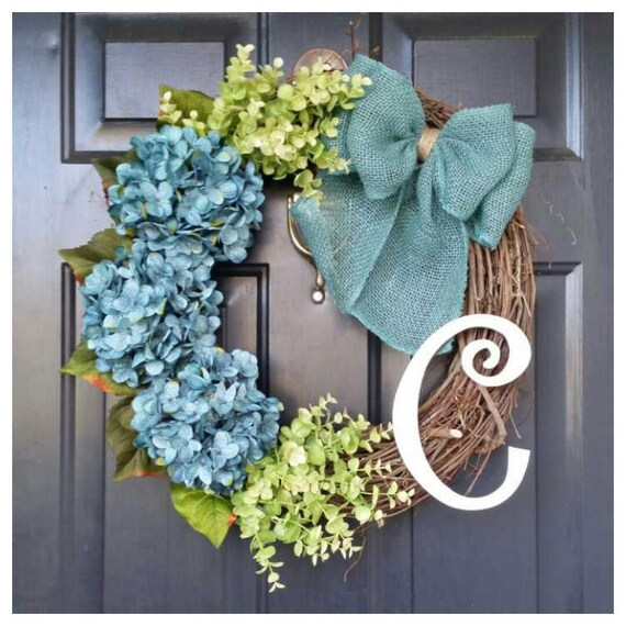 hydrangea wreath eucalyptus wreath wreath with greenery