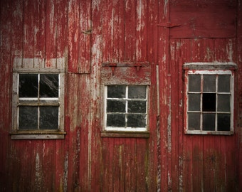 Country Wall Decor, Red Barn Photo, Barn Windows, Old Barn Photos, Rustic, Farm Photos, Country Art