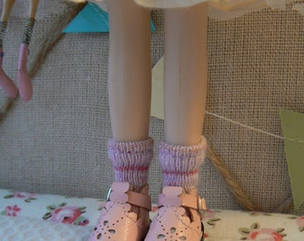 Ankle socks pink striped for Blythe doll with metallic fibres