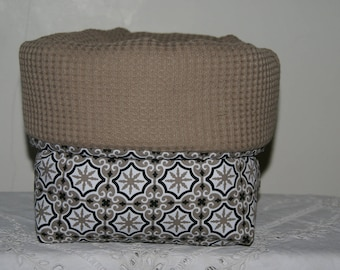 Fabric basket Organizer padded taupe cement tiles