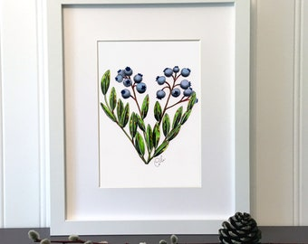Blueberry heart, 7 x 5 inches, Handmade original drawing with color marker and ink