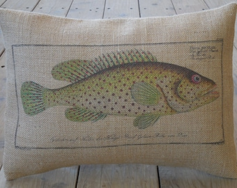 Trout Burlap Pillow, Shabby Chic, Cabin Decor, Man Cave, Farmhouse Pillows, US15, INSERT INCLUDED