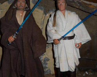 "12"" 12 inch 1/6 Star Wars ATOC Clone Wars  Qui-gon jinn and Obi Wan Kenobi action figure JEDI lot of 2 loose"