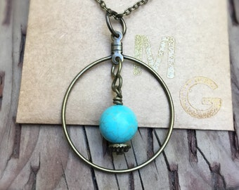 Gypsy Spheres Necklace  - Brass Necklace - Turquoise Howlite Stone