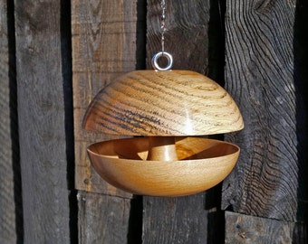 "Oak ""Wide Applecore"" Bird feeder - Medium"