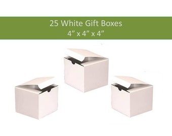 25 White Favor Boxes 4 x 4 - Pack of 25 Boxes Wedding Favor Box Candle Favor Boxes Wedding Party Box 25 White Gift Boxes Favor Box for Soaps