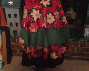 Poinsettia pattern half apron