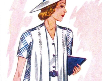 Spring Sale Uncut 1930s Pictorial Review Printed Pattern 9322  Sewing Vintage 30s Dress Pattern 30s Jacket Pattern  Bust 38 inches