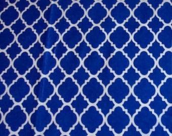 Valance Royal Blue and White Moraccan Quatrefoil Geometric Curtain Window Treatment Topper