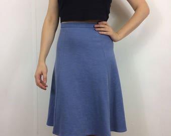 Vintage 70s Pastel Blue A-Line Winter Geek Secretary Skirt 8