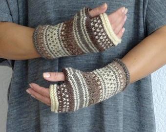knit fingerless gloves, arm warmers, fingerless mitts, wrist warmers, hand warmers, knit gloves, knit mittens, alpaca gloves, ready to ship