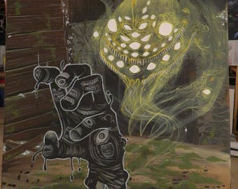 The Shunned House Original Lovecraft inspired painting by Dennis A!