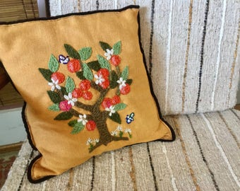 Boho Decor. Crewel Embroidery Throw Pillow. Tree. Mustard, Brown, Red, Green. 1970s Boho Cottage. Fruit Tree. Sofa, Bed, Chair Accent.
