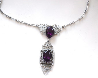 Vintage Filigree Choker Necklace with Purple Glass Stones, Art Deco Era, Circa 1920's