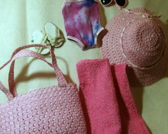 "Fun in the Sun Pink swimwear set for 18"" dolls"