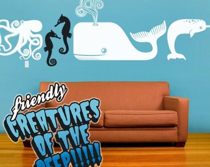 vinyl wall decal- sea animals, ocean creatures, sticker art