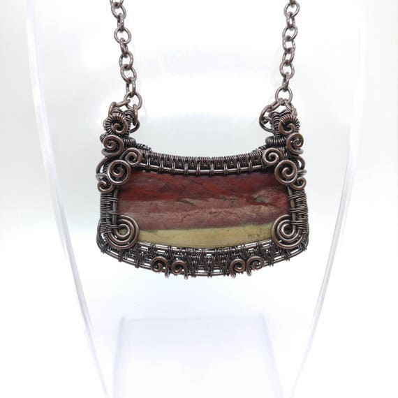Ghost Riders in the Sky Inspired   Picture Jasper Necklace   Antiqued Copper Pendant   Wire Wrap Necklace   Steampunk Statement Necklace