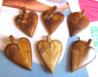 Bone Heart Pendants, Brown Carved Love Symbols, Heart Charms, Tea Stained, 2 Pcs