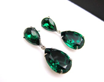 bridal jewelry bridesmaid gift wedding prom pageant party swarovski teardrop emerald green crystal fancy drop and teardrop post earrings