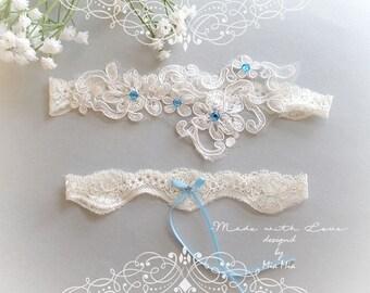 Ivory Lace Garter Set ,Something Blue Bow Blue Rhinestone Bridal Wedding Garter Belt Honeymoon Elegance Keepsake Toss Single Garter