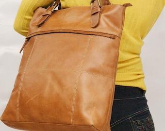Leather tote bag light brown bag market bag library bag every day leather bag laptop bag over the shoulder bag  women's leather shoulder bag