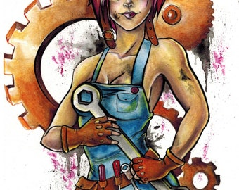 "Anime Style ""Gear Girl"" 8x10 Watercolor Painting - PRINT"
