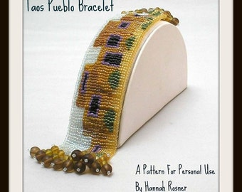 Bead Pattern Pueblo Loomwork or Square Stitch Beaded Bracelet tutorial instructions