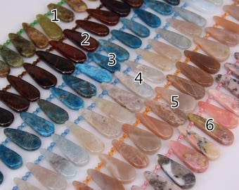 6 stones choice,Natural Gems Top Drilled Flat Teardrop Loose Beads Necklace,Garnet,Apatite,Pink Aquamarine,Sunstone,Opal Polished Pendants