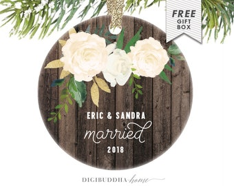 Our First Married Christmas as Mr and Mrs, Married Christmas Ornament, Farmhouse Christmas Gift for Couple, 1st Christmas Married Ornament