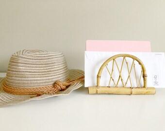 Bamboo letter holder, vintage napkin holder, boho home decor, desk organizer