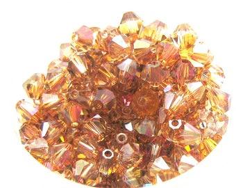 Set of 20 Copper Swarovski Crystal bicones - 4 mm