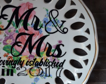 """Vintage Upcycled Decorative Plate """"Mr. and Mrs. lovingly established in 2017"""" Black Vinyl Appliqué"""