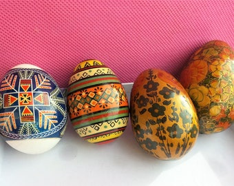 Vintage Set of Four  Collectible Decorated Eggs