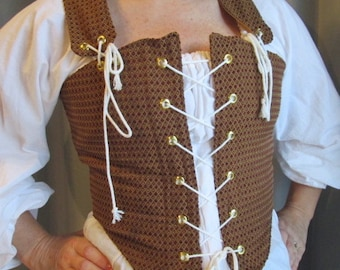 Reversible Tudor Bodice in Red and Gold