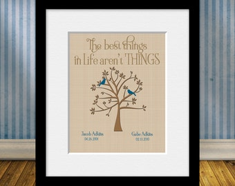 Grandparent's Gift, Family Tree, Lovebird Tree with Children Names, Best Things in Life Aren't Things, Parent's Gift, Christmas Gift,