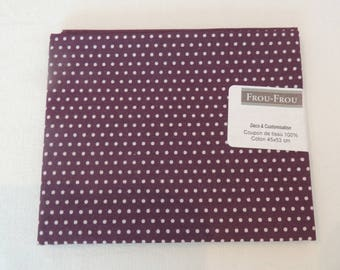 Fabric cotton patch background plum pink dots