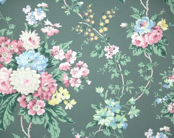 1940s Vintage Wallpaper by the Yard - Pink and Blue Floral Bouquets on Green, Floral Wallpaper