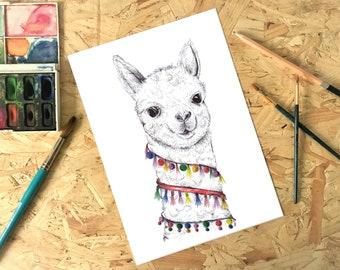 Black ink Llama Pom pom Tassel Print, Illustration, Painting A3, A4, A5
