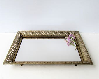 Mid Century Large Mirror and Brass Vanity Tray - Vanity Tray - Mirror Tray - Brass filigree - Vanity Mirror - Trinket Tray - Footed Tray