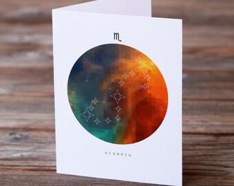 Scorpio Birthday Card, Zodiac Card, Horoscope Greeting Card, Printable Scorpio Card, Digital Download, Zodiac Card, Scorpio Star Sign Card