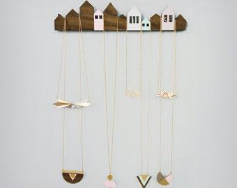 Houses Jewelry Display, jewelry holder, jewelry hanger, Scandinavian design, jewelry display, wooden home decor