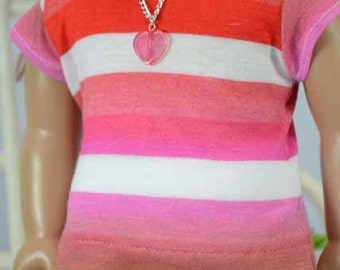 American Girl or 18 inch Doll TEE Top Blouse SHIRT Orange Hot Pink and White Stripes PR2 Shorts and Sandals Options with Surprise NECKLACE