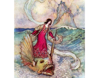 Fairy Fridge Magnet - Ocean Fairy Riding on a Dolphin - Warwick Goble
